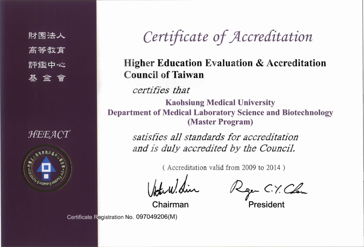 HEEACT Certificate of Master Program